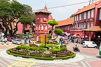 Stadthuys on right. Former Dutch Governor's Residence and Town Hall, Built 1650.   Melaka, Malaysia.