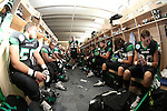 DENTON, TX  JANUARY 1:  University of North Texas Mean Green players wait for the 11:00 am kickoff against the UNLV Rebels of the Heart of Dallas Bowl at Cotton Bowl Stadium in Dallas on January 1, 2014 in Dallas, TX.  Photo by Rick Yeatts North Texas won 36-14 over UNLV.