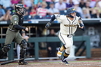 Michigan Wolverines outfielder Jesse Franklin (7) hustles out of the batters box against the Vanderbilt Commodores during Game 1 of the NCAA College World Series Finals on June 24, 2019 at TD Ameritrade Park in Omaha, Nebraska. Michigan defeated Vanderbilt 7-4. (Andrew Woolley/Four Seam Images)