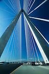 Driving over the Arthur Ravenel Jr. Bridge over the Cooper River in Charleston South Carolina