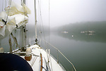 A sailboat approaching an anchorage in the fog, Phippsburg, Maine, USA