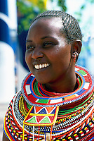 Portrait of Maasai Woman from Kenya with Colorful Bead Necklace Jewelry around her Neck (No Model Release Available)