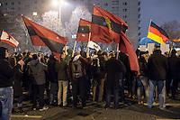 """Etwa 300 Anhaenger des Berliner Ablegers rechten Pegida-Bewegung, Baergida, versammelten sich am Montag den 19. Januar 2015 in Berlin zu einer Mini-Demonstration gegen eine angebliche Islamisierung Deutschlands.<br /> Unter den Anhaengern von Baergida waren zum wiederholten Mal militante Neonazis, Mitglieder der NPD und Hooligans sowie Mitglieder der Rechtsparteien AfD und Pro Deutschland und der rechtsradikalen German Defense League. Teilnehmer der Veranstaltung bruellten wie in der Wochen zuvor """"Wir sind das Volk"""" und """"Luegenpresse, auf die Fresse"""" und hielten Schilder mit der Aufschrift """"Je suis Charlie"""" und islamfeindlichen Parolen.<br /> Im Bild: Burschenschafter mit Fahnen der ersten deutschen Burschenschaft von 1815.<br /> 19.1.2015, Berlin<br /> Copyright: Christian-Ditsch.de<br /> [Inhaltsveraendernde Manipulation des Fotos nur nach ausdruecklicher Genehmigung des Fotografen. Vereinbarungen ueber Abtretung von Persoenlichkeitsrechten/Model Release der abgebildeten Person/Personen liegen nicht vor. NO MODEL RELEASE! Nur fuer Redaktionelle Zwecke. Don't publish without copyright Christian-Ditsch.de, Veroeffentlichung nur mit Fotografennennung, sowie gegen Honorar, MwSt. und Beleg. Konto: I N G - D i B a, IBAN DE58500105175400192269, BIC INGDDEFFXXX, Kontakt: post@christian-ditsch.de<br /> Bei der Bearbeitung der Dateiinformationen darf die Urheberkennzeichnung in den EXIF- und  IPTC-Daten nicht entfernt werden, diese sind in digitalen Medien nach §95c UrhG rechtlich geschuetzt. Der Urhebervermerk wird gemaess §13 UrhG verlangt.]"""