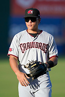 Third baseman Dustin Harris (9) of the Hickory Crawdads before a game against the Greenville Drive on Friday, August 27, 2021, at Fluor Field at the West End in Greenville, South Carolina. (Tom Priddy/Four Seam Images)