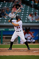 Indianapolis Indians Steven Baron (44) bats during an International League game against the Syracuse Mets on July 16, 2019 at Victory Field in Indianapolis, Indiana.  Syracuse defeated Indianapolis 5-2  (Mike Janes/Four Seam Images)