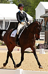 LEXINGTON, KY - April 27, 2017. #28 Fernhill Fortitude and Jenny Caras from the USA finish in 6th place on the first day of Dressage at the Rolex Three Day Event at the Kentucky Horse Park.  Lexington, Kentucky. (Photo by Candice Chavez/Eclipse Sportswire/Getty Images)