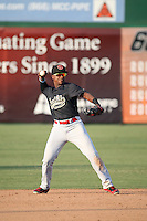 Domingo Leyba (2) of the Visalia Rawhide makes a throw during a game against the Inland Empire 66ers at San Manuel Stadium on June 26, 2016 in San Bernardino, California. Inland Empire defeated Visalia, 5-1. (Larry Goren/Four Seam Images)