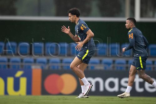 11th November 2020; Granja Comary, Teresopolis, Rio de Janeiro, Brazil; Qatar 2022 qualifiers; Marquinhos of Brazil during training session in Granja Comary