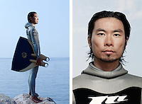 """Ryuzo Shinomiya, freediver, poses for the photographer at the A.I.D.A. Freediving World Championships, Villefranche-sur-Mer, France, 11 September 2012. Ryuzo, 35 years old, is Japanese and Asia's number one freediver. His personal best depth is 115m in constant weight discipline.  <br /> <br /> """"Freediving is a mirror. It is a reflection of your heart, the condition of your body and your mental state. You cannot lie to the ocean"""""""