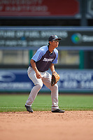 Trenton Thunder third baseman Gosuke Katoh (19) during a game against the Hartford Yard Goats on August 26, 2018 at Dunkin' Donuts Park in Hartford, Connecticut.  Trenton defeated Hartford 8-3.  (Mike Janes/Four Seam Images)