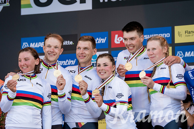 Tony Martin (DEU/Jumbo-Visma) says goodbye to professional cycling after an impressive career (4 time individual TT world champion) by taking the rainbow jersey / gold medal in the Mixed Relay TTT  with his German National Teammates<br /> <br /> Mixed Relay TTT <br /> Team Time Trial from Knokke-Heist to Bruges (44.5km)<br /> <br /> UCI Road World Championships - Flanders Belgium 2021<br /> <br /> ©kramon