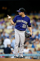 Tyler Chatwood #32 of the Colorado Rockies pitches against the Los Angeles Dodgers at Dodger Stadium on September 29, 2012 in Los Angeles, California. Los Angeles defeated Colorado 3-0. (Larry Goren/Four Seam Images)