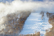 Snow making at Cannon Mountain in Franconia Notch State Park of New Hampshire.