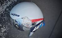 Adam Hansens Lazer Wasp helmet during his warmup<br /> <br /> Tour de France 2013<br /> stage 11: iTT Avranches - Mont Saint-Michel <br /> 33km