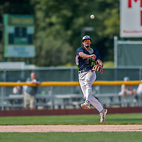 4 September 2017: Vermont Lake Monsters infielder Jesus Lage makes a throw to first in the 4th inning of their first game of a double-header against the Tri-City ValleyCats at Centennial Field in Burlington, Vermont. The Lake Monsters split their games, falling 6-5 in the first, then winning the second 7-4, thus clinching the NY Penn League Stedler Division Championship. Mandatory Credit: Ed Wolfstein Photo *** RAW (NEF) Image File Available ***