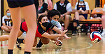 PLYMOUTH, CT-111020JS17 —Wolcott Tech's Heather Squeglia (5) and Yennifer Sarmiento (8) collide while both digging for the ball during their match against Terryville Tuesday at Terryville High School. <br /> Jim Shannon Republican-American