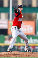 July 22, 2009:  Pitcher Kris Johnson of the Pawtucket Red Sox delivers a pitch during a game at Frontier Field in Rochester, NY.  Pawtucket is the Triple-A International League affiliate of the Boston Red Sox.  Photo By Mike Janes/Four Seam Images