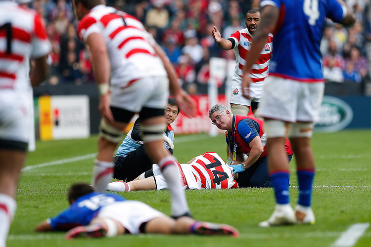 Japan Winger Akihito Yamada is treated after an injury - Mandatory byline: Rogan Thomson - 03/10/2015 - RUGBY UNION - Stadium:mk - Milton Keynes, England - Samoa v Japan - Rugby World Cup 2015 Pool B.