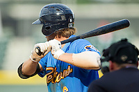 Myrtle Beach Pelicans catcher Kellin Deglan (6) at bat against the Winston-Salem Dash at BB&T Ballpark on July 7, 2013 in Winston-Salem, North Carolina.  The Pelicans defeated the Dash 6-5 in 8 innings in game two of a double-header.  (Brian Westerholt/Four Seam Images)