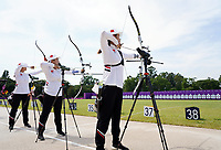 20th July 2021, TOKYO, JAPAN:  Long Xiaoqing, Wu Jiaxin and Yang Xiaolei of the Chinese womens archery team attend a training session ahead of the Tokyo 2020 Olympic Games at the Yumenoshima Park Archery Field in Tokyo, Japan