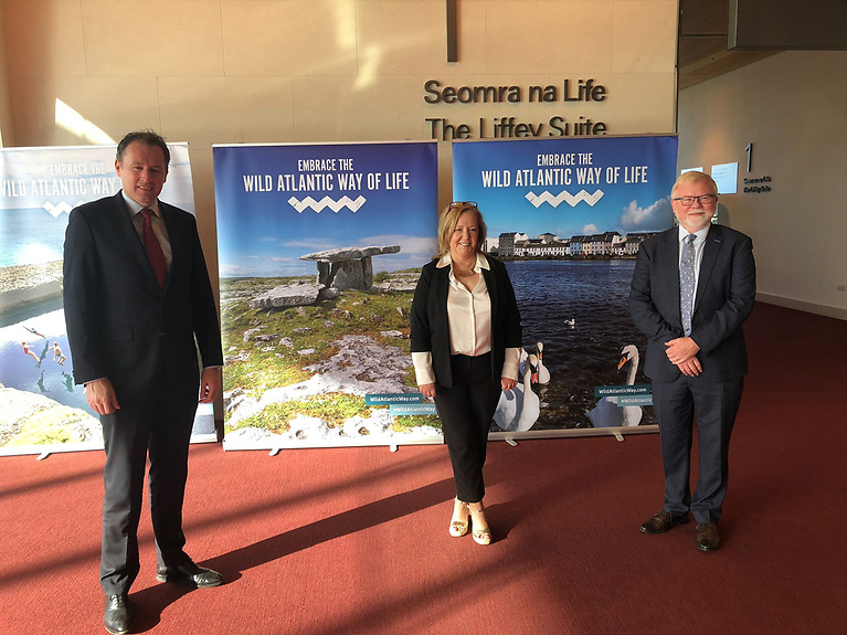From L-R: Minister McConalogue; Dympna Keogh, 2021 Atlantic Strategy Committee Chair; Michael Gillooly, Acting Joint CEO Marine Institute