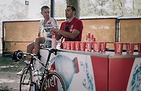 Maxime Bouet (FRA/Fortuneo-Oscaro) relaxing in the Village Départ before the start<br /> <br /> 104th Tour de France 2017<br /> Stage 14 - Blagnac › Rodez (181km)