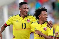 Colombia's Yerri Mina (l) and Juan Guillermo Cuadrado celebrate goal during international friendly match. June 13,2017.(ALTERPHOTOS/Acero) (NortePhoto.com) (NortePhoto.com)