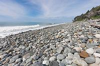 Rocky beach in the Gulf of Alaska, Pacific ocean coast, Glacier Bay National Park, Southeast, Alaska.