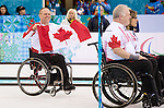 Sochi, RUSSIA - Mar 15 2014 - Dennis Thiessen celebrates his team's gold medal win in the Gold Medal Wheechair Curling match at the 2014 Paralympic Winter Games in Sochi, Russia.  (Photo: Matthew Murnaghan/Canadian Paralympic Committee)