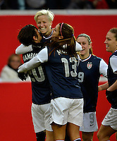 Offenbach, Germany, Friday, April 05 2013: Womans, Germany vs. USA, in the Stadium in Offenbach,  Abby Wambach and Megan Rapinoe (USA) celebrates the Goal..
