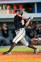 Michael Marjama #22 of the Bristol White Sox follows through on his swing against the Burlington Royals at Burlington Athletic Park on July 9, 2011 in Burlington, North Carolina.  The Royals defeated the White Sox 3-2.   (Brian Westerholt / Four Seam Images)