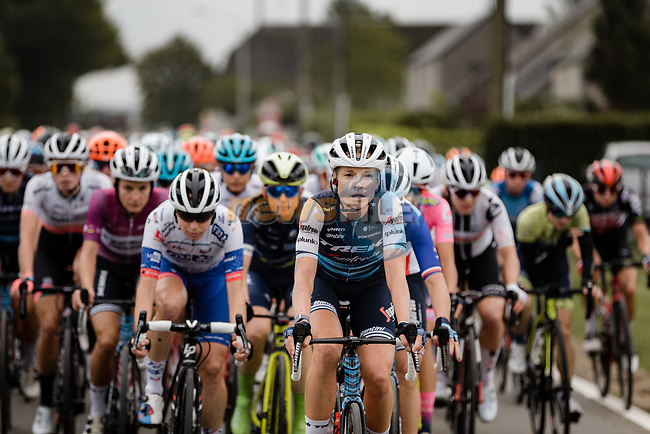 Tayler Wiles (USA) Trek-Segafredo at the front of the peloton during La Fleche Wallonne Femmes 2020, running 124km from Huy to Mur de Huy, Belgium. 30th September 2020.<br /> Picture: ASO/Thomas Maheux | Cyclefile<br /> All photos usage must carry mandatory copyright credit (© Cyclefile | ASO/Thomas Maheux)