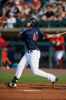 Lowell Spinners designated hitter Tyler Esplin (40) follows through on a swing during a game against the Vermont Lake Monsters on August 25, 2018 at Edward A. LeLacheur Park in Lowell, Massachusetts.  Vermont defeated Lowell 4-3.  (Mike Janes/Four Seam Images)