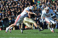South Bend, IN - OCTOBER 4:  Linebacker Clinton Snyder #20 and safety Sean Wiser #32 of the Stanford Cardinal during Stanford's 28-21 loss against the Notre Dame Fighting Irish on October 4, 2008 at Notre Dame Stadium in South Bend, Indiana.