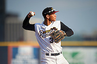 Quad Cities River Bandits third baseman Randy Cesar (39) throws to first during a game against the Bowling Green Hot Rods on July 24, 2016 at Modern Woodmen Park in Davenport, Iowa.  Quad Cities defeated Bowling Green 6-5.  (Mike Janes/Four Seam Images)