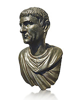 """Roman Bronze sculpture bust known as 'Sylla"""" from the tablinium of the Villa of the Papyri in Herculaneum, Museum of Archaeology, Italy, white background"""