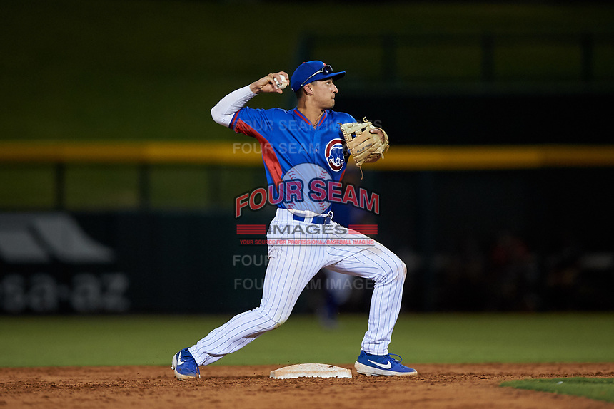 AZL Cubs 2 second baseman Chase Strumpf (15) throws to first base during an Arizona League game against the AZL Dbacks on June 25, 2019 at Sloan Park in Mesa, Arizona. AZL Cubs 2 defeated the AZL Dbacks 4-0. (Zachary Lucy/Four Seam Images)