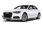 Stock pictures of low aggressive front three quarter view of a 2018 Audi A4 Premium 4 Door Sedan