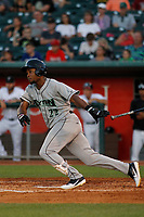 Dayton Dragons outfielder Raul Wallace (22) follows through on a swing during a game against the Lansing Lugnuts at Cooley Law School Stadium on August 10, 2018 in Lansing, Michigan . Lansing defeated Dayton 11-4.  (Robert Gurganus/Four Seam Images)