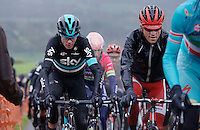 Chris Froome (GBR/SKY) with Ian Boswell's vest on, up La Redoute (1650m/9.7%)<br /> <br /> 102nd Liège-Bastogne-Liège 2016