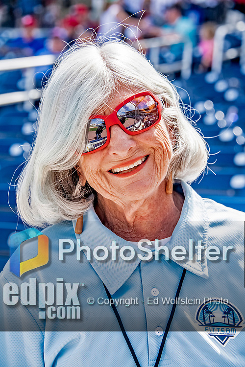 7 March 2019: Washington Nationals hostess Susan smiles for the camera prior to a Spring Training game against the New York Mets at the Ballpark of the Palm Beaches in West Palm Beach, Florida. The Nationals defeated the visiting Mets 6-4 in Grapefruit League, pre-season play. Mandatory Credit: Ed Wolfstein Photo *** RAW (NEF) Image File Available ***