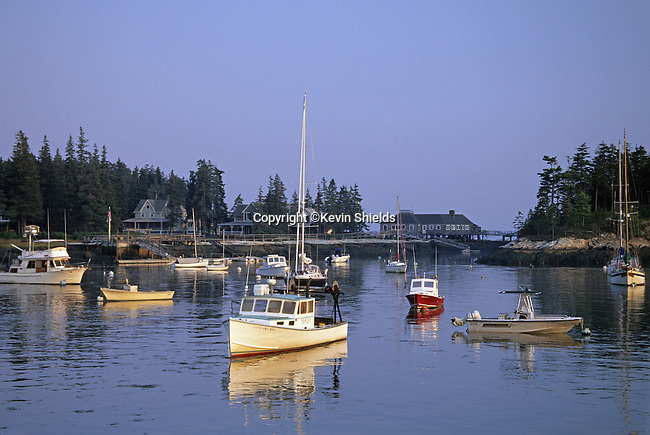 View of the harbor at Five Islands, Georgetown, Maine, USA, showing a variety of boats at the height of Summer on the Maine coast.