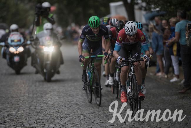 Bob Jungels (LUX/Etixx-QuickStep) charging up the cobbles <br /> <br /> 12th Eneco Tour 2016 (UCI World Tour)<br /> Stage 7: Bornem › Geraardsbergen (198km)
