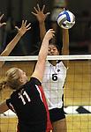 Nevada's Tessa Lea'ea blocks Seattle University hitter Jordan Keller during NCAA womens college volleyball in Reno, Nev., on Thursday, Oct. 20, 2011. Nevada won 3-0.. .Photo by Cathleen Allison