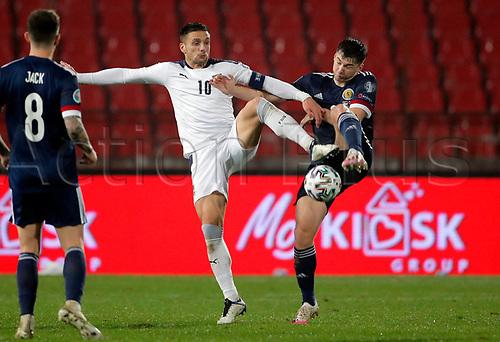 12th November 2020; Belgrade, Serbia; European International Football Playfoff Final, Serbia versus Scotland;  Serbias Dusan Tadic vies with Scotlands Kieran Tierney