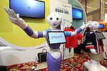 July 20, 2016, Tokyo, Japan - Softbank's humanoid robot Pepper wears wrapping sticker for his clothes at a press preview of the Pepper World exhibition in Tokyo on Wednesday, July 20, 2016. Pepper's latest applications and accessories will be exhibited at the Pepper World robot exhibition on July 21 and 22.      (Photo by Yoshio Tsunoda/AFLO)