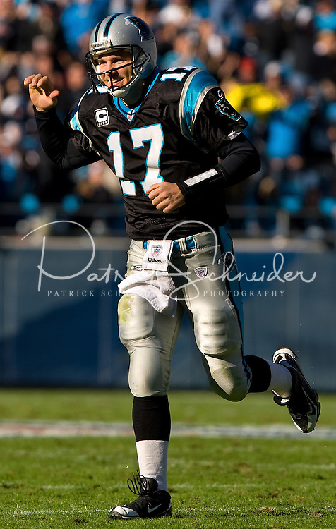 Carolina Panthers quarterback Jake Delhomme (17) smiles against the Detroit Lions during an NFL football game at Bank of America Stadium in Charlotte, NC.