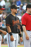 Bakersfield Blaze catcher Jose Felix of the California League All- Stars being introduced to the crowd before the California League vs. Carolina League All-Star game held at BB&T Coastal Field in Myrtle Beach, SC on June 22, 2010.  The California League All-Stars defeated the Carolina League All-Stars by the score of 4-3.  Photo By Robert Gurganus/Four Seam Images