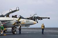 """- landing of a A 7 """"Intruder"""" strike aircraft and F 14 """"Tomcat"""" fighter aircraft on Roosevelt aircraft carrier....- appontaggio di un aereo da attacco A 7 """"Intruder"""" e caccia F 14 """"Tomcat"""" a bordo della portaerei Roosevelt  .."""