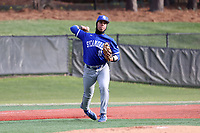 ELON, NC - FEBRUARY 28: Diego Gines #11 of Indiana State University throws to first base for an out during a game between Indiana State and Elon at Walter C. Latham Park on February 28, 2020 in Elon, North Carolina.